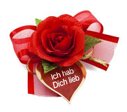 Red rose with card-Ich hab Dich lieb Royalty Free Stock Photography