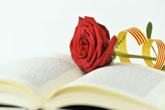 Red rose and catalan flag in an open book Royalty Free Stock Photo