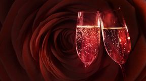 Red rose with champagne. For valentines day royalty free stock photography