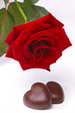 Red rose  and chocolate Royalty Free Stock Photography
