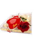 Red Rose Chocolate Box Love. Red Rose flower on Chocolate Box with red Love pillow stock image