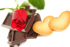 Red Rose with chocolate and cookie. Beautiful Red Rose with chocolate and cookie stock image