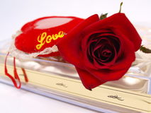 Red Rose Chocolate Valentine 2. Red Rose flower on Chocolate Box with red Love pillow for Valentine's Day picture 2 royalty free stock photo