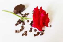 Red rose with chocolate Royalty Free Stock Image