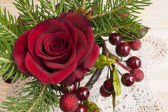 Red rose Christmas table decoration Royalty Free Stock Photo