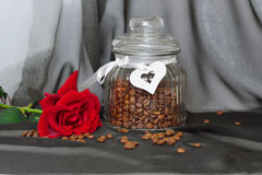 Red rose and coffee Stock Images