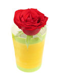 Red rose in a colorful flower vase Stock Photo