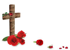 Red rose and cross on white background. Red rose and christian wooden cross on white background royalty free stock images