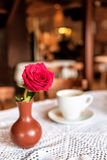 Red rose and cup of coffee Stock Photo
