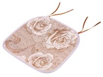 Red rose cushion on a white background. ,This cushion is for use on a chair stock image