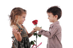 Red rose for cute beautiful girl Stock Images