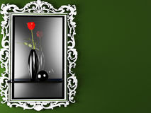 A red rose in the dark vase Stock Photo