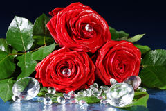 Red rose decorated with rhinestones Royalty Free Stock Photography