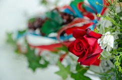 Red Rose Decoration. Decorated red rose as part of a wedding decoration Stock Photography