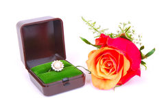 Red rose, diamond ring Royalty Free Stock Image