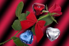 Red rose and diamonds Royalty Free Stock Images