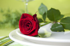 Red rose and dishes stock photography