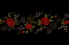 Red rose embroidery on black background. Satin stitch imitation fashion decoration border necklace. Texture flower small. Red rose embroidery on black background royalty free illustration