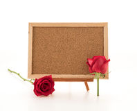 red rose with empty board Stock Photo