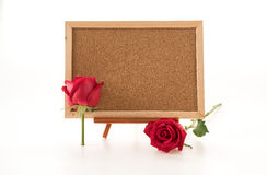 red rose with empty board Stock Photography