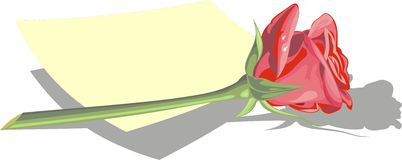 Red rose and empty paper Stock Photography