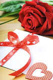 Red rose and envelope in romantic set Royalty Free Stock Photo