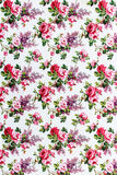 Red rose Fabric background, Fragment of colorful retro tapestry text Stock Photography