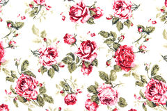 Red Rose Fabric Background, Fragment of colorful retro tapestry Royalty Free Stock Images