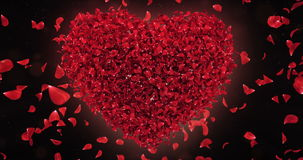 Red Rose Falling Flower Petals In Lovely Heart Shape Background Loop 4k stock footage