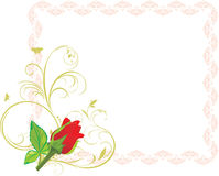 Red rose with floral ornament in the frame Stock Images