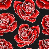 Red rose flower bouquets contour elements seamless pattern on dark background stock illustration