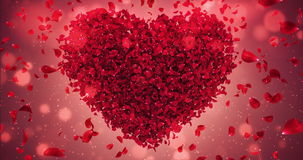 Red Rose Flower Falling Petals Love Heart Valentine Wedding Background Loop 4k. Animation of romantic flying red rose flower petals in shape of love heart stock video