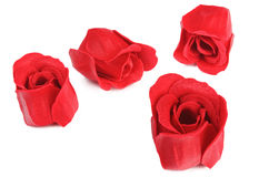 Red rose flower formed scented soap Stock Photo