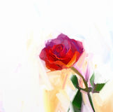 Red rose flower with green leaf oil painting. Stock Photo