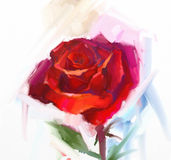 Red rose flower with green leaf oil painting. Royalty Free Stock Image