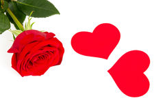 Red rose flower with hearts Royalty Free Stock Images