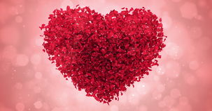 Red Rose Flower Petals In Lovely Heart Shape Background Loop 4k stock footage