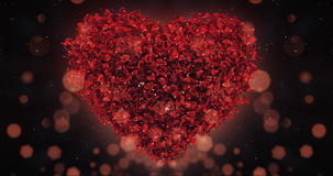 Red Rose Flower Petals In Lovely Heart Shape Background Loop 4k stock video