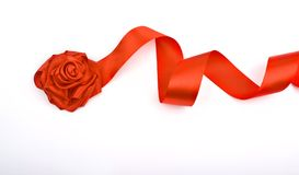 Red rose flower of satin ribbon Stock Image