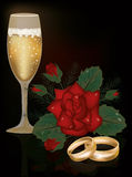 Red Rose flower and wedding rings Stock Images