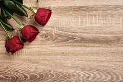 Red rose flower on wood Royalty Free Stock Photography