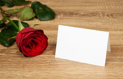 Red rose flower on wood Stock Photo