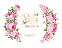 The bridal shower invitation. Red rose flower wreath with calligraphic text for bridal shower invitation. Vector illustration Royalty Free Stock Image