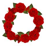 Red Rose Flower Wreath. isolated on White Background. Vector Illustration.  royalty free illustration
