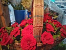 Red Rose Flowers With Beautiful Bamboo Art royalty free stock photo