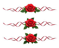 Red rose flowers bouquet and silk ribbon decoration Stock Photography