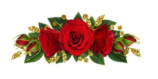 Red rose flowers and glitter decotations in floral line arrangem. Ent isolated on white background. Flat lay. Top view royalty free stock image