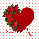 Red rose flowers on heart shape paper card Royalty Free Stock Images