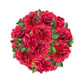 Red rose flowers - round background. Watercolor stock illustration