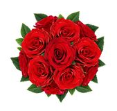 Red rose flowers in round bouquet Stock Photos